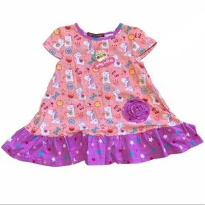 Jelly the pug unicorn butterfly & flowers tunic